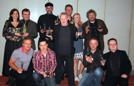 Back row: Lady Katherine and John Probert (for Robert Holdstock), Chaz Brenchley (for Kari Sperring), David J. Howe, Sarah Pinborough, Robert Shearman (for himself and Doctor Who); Front row: Terry Martin, Vincent Chong, Stephen Jones (for himself, Neil Gaiman and Michael Marshall Smith), Conrad Williams and Lee Harris (for Let the Right One In).