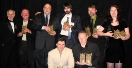 (back) Thomas F. Monteleone, David Morrell, Peter Straub, Joe Hill, Michael Arnzen, Lisa Morton, (front) Hank Schwaeble, Stephen Jones, Bram Stoker Awards 2006, Newark, New Jersey