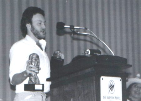 Stephen Jones accepting the Special Award Non-Professional for Fantasy Tales, World Fantasy Convention 1984, Ottawa, Canada
