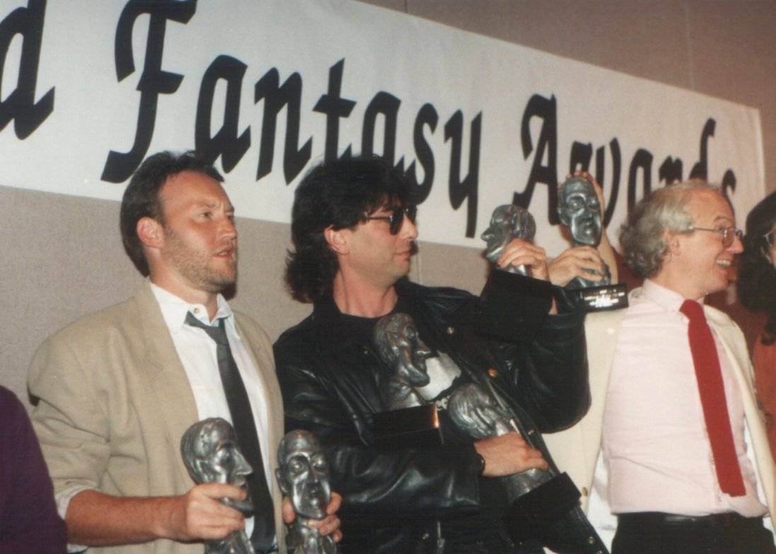 Stephen Jones, Neil Gaiman and James Morrow, World Fantasy Awards 1991, Tucson, Arizona