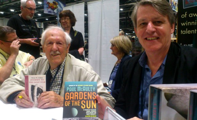 Brian Aldiss and Paul McAuley signing at the PS Publishing tables