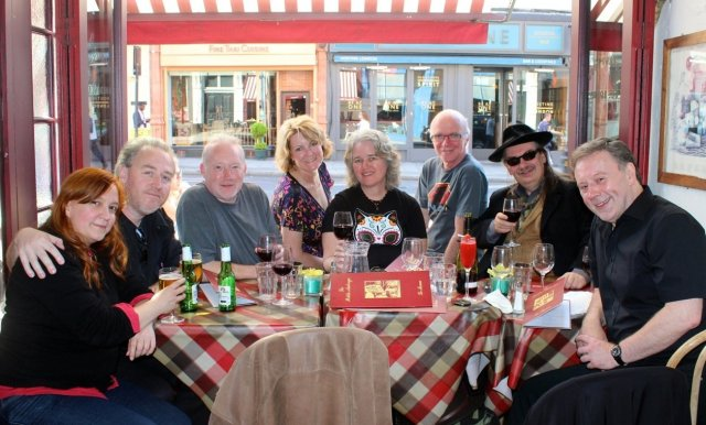At La Petite Auberge, Upper Street: Lynda E. Rucker, Sean Hogan, Stephen Jones, Cat Sparks, Lisa Morton, Robert Hood, Kim Newman and Barry Forshaw