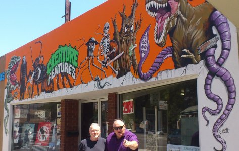 Stephen Jones and Peter Atkins outside Creature Features
