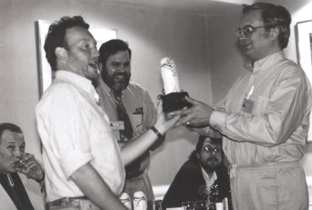 British Fantasy Awards 1991 - Stephen Jones and Ramsey Campbell receive their award for Best New Horror. Brian Lumley, Andrew Porter and Mike Chinn in the background